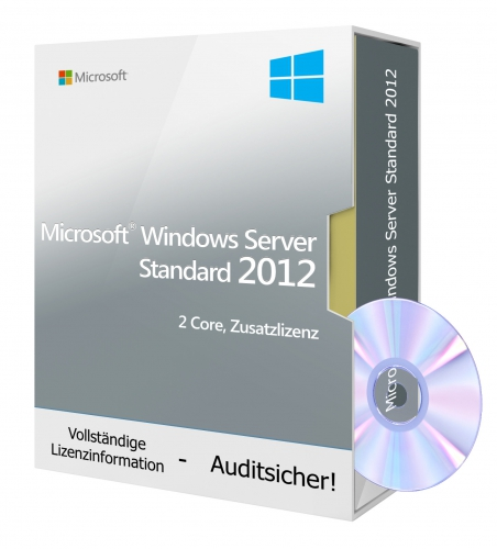 Microsoft Windows Server 2012 R2 Standard DVD (2 Core Zusatzlizenz, 2 VM)