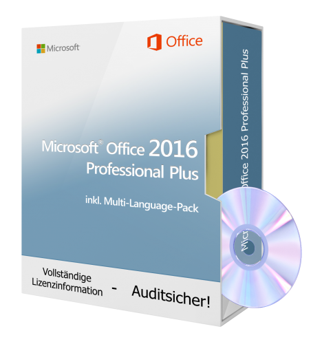 Microsoft Office 2016 Professional Plus DVD, inkl. Multi-Language-Pack